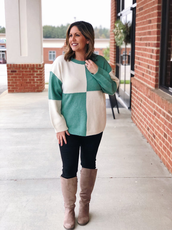 In My Dreams Color Block Sweater in Green/Ivory