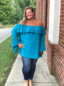 Off Shoulder Bell Sleeve Top In Teal