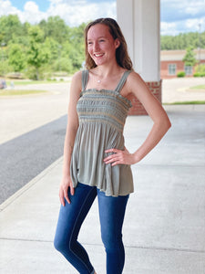 The Bridget Peplum Top in Olive