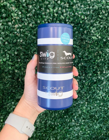 Swig 12oz Skinny Can Cooler Nantucket Navy by SCOUT