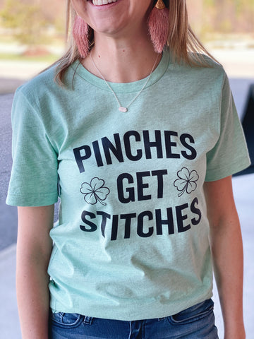 Pinches Get Stitches Top in Heather Mint