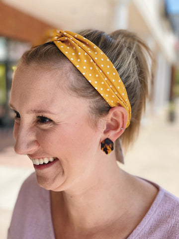 Mustard Polka Dot Twist Headband
