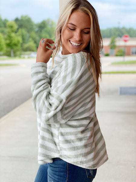The Kali Striped Pullover in Sage