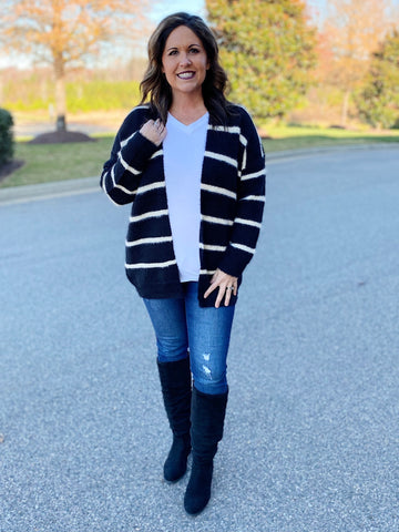 The Carol Fuzzy Sweater Cardigan in Black