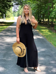 Wide Leg Jumpsuit With Pockets Black