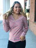 Better Together Striped Top in Brick