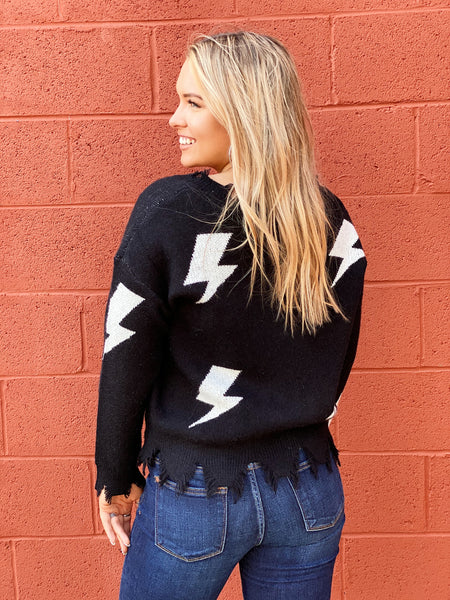 The Naomi Bolt Sweater in Black/Off White