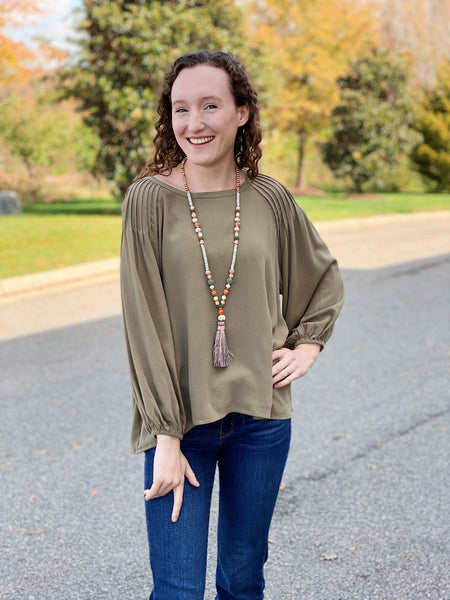 The Stella Pleated Top in Olive