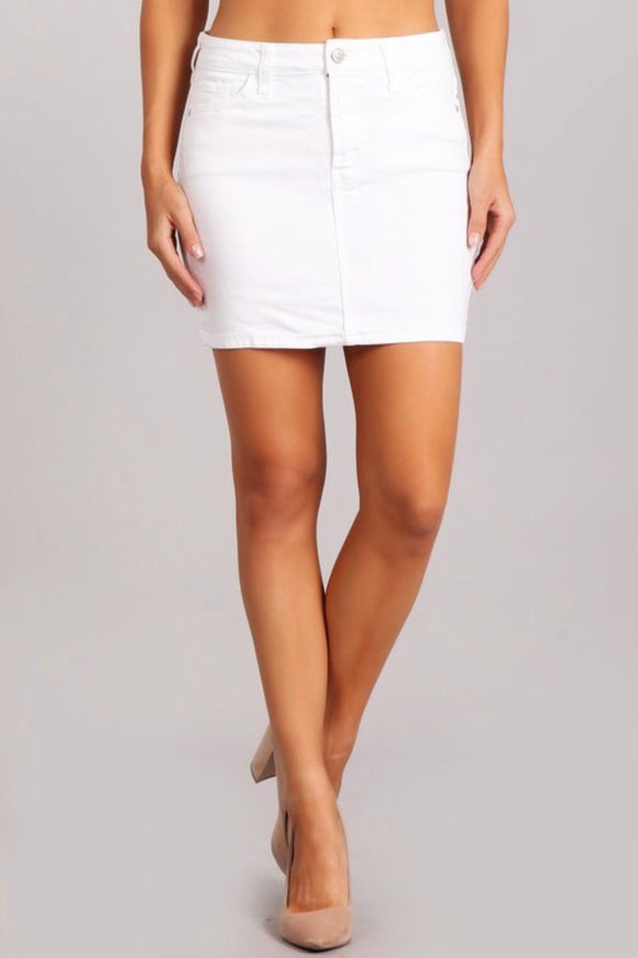 Clean Hem Non Denim White Skirt