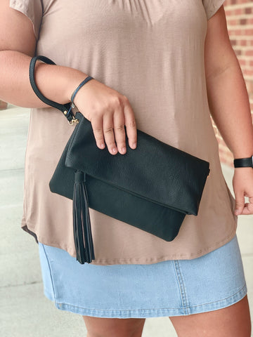 Flapover Tassel Crossbody Clutch in Black