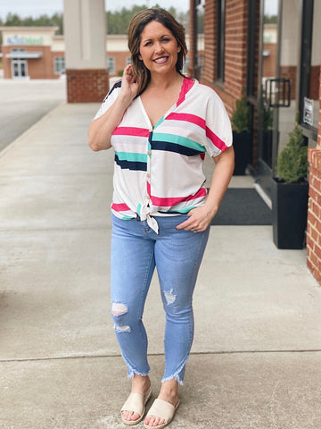 The Alexis Striped Button Down Top in Hot Pink/ Multi
