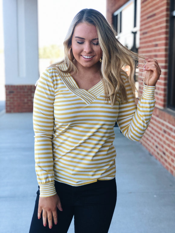 Better Together Striped Top in Mustard