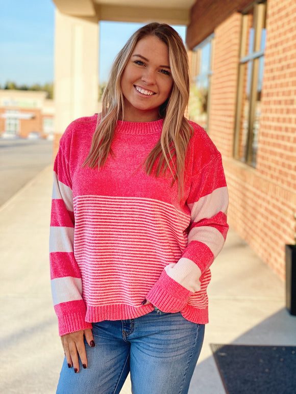 The Fiona Knit Sweater In Pink