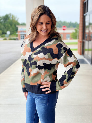 The Andrea Sweater in Olive/Camo
