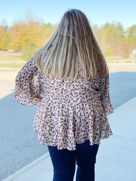 The Lacy Peplum Top in Taupe