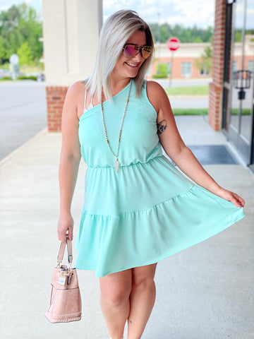 The Andrea Mini Dress in Mint