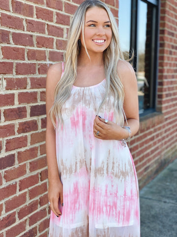 The Rae Maxi Dress in Coral/Multi
