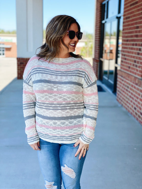 The Yasmin Sweater in Pink/Multi