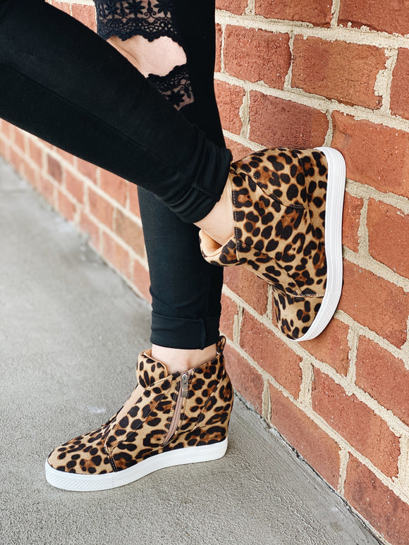 The Zoey Leopard Print Sneaker in Brown