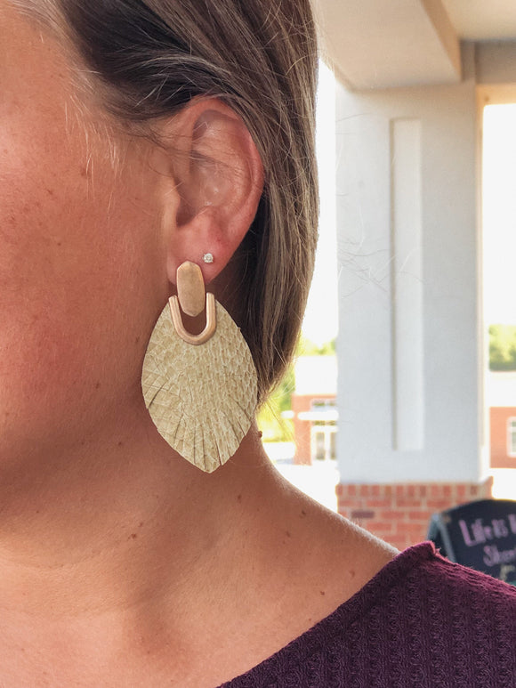 Here For It SnakeSkin Leather Earrings In Tan