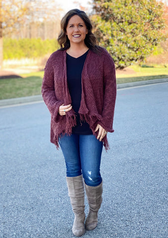 The Brandy Cardigan in Red/Brown