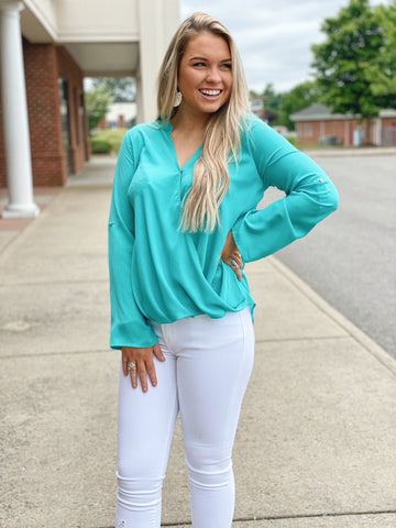 The Lara Front Overlay Top in Mint
