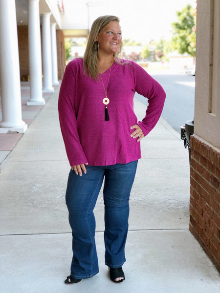 Arctic Chill Fleece Knit Sweater In Berry