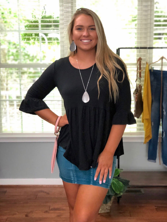 Perfect Peplum Black Ruffle Top