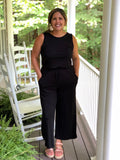 Scoop Back Cropped Jumpsuit With Pockets Black