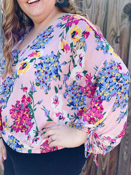 The Krista Floral Top in Blush/ Multi