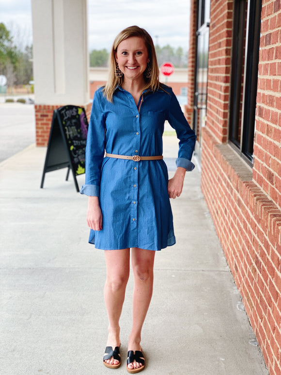 The Quinn Denim Dress in Chambray
