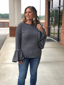 LA Love Stripe Top In Black