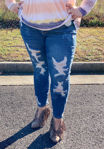 Judy Blue Mid Rise Distressed Jeans