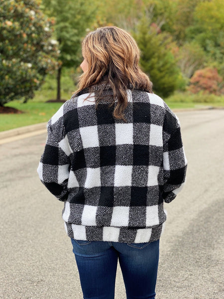 The Christy Teddy Coat in Black Plaid