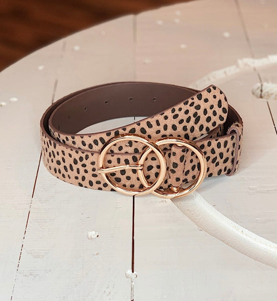 Double O Belt in Cheetah/Beige