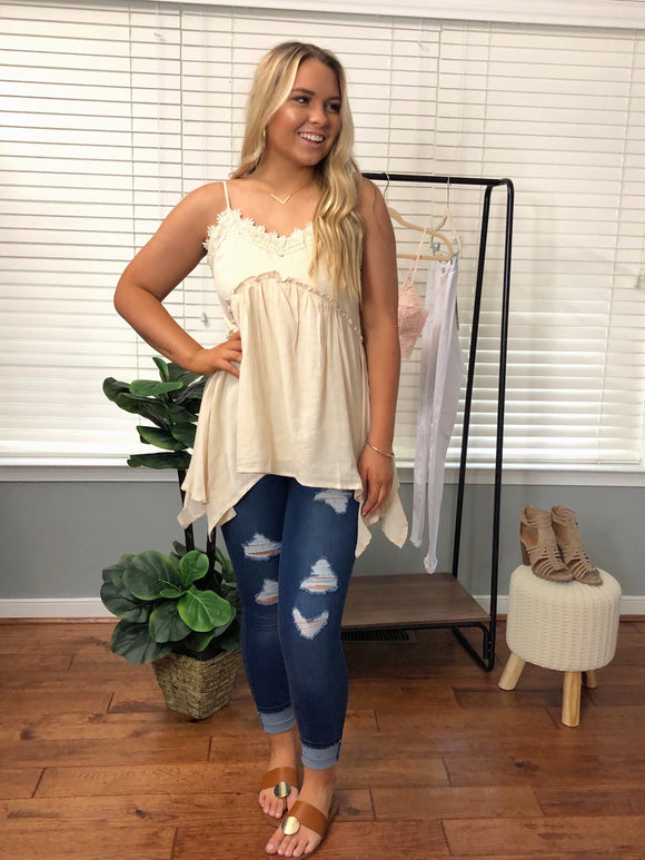 Concert Ready Lace Trim Top Cream