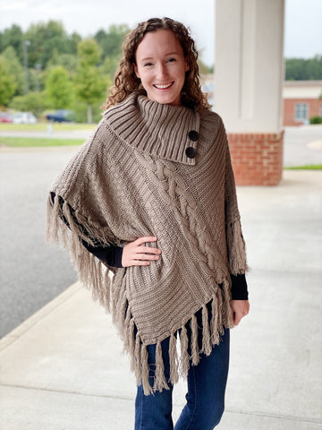 The Ava Poncho in Mocha