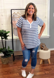Button Down Stripe Top Blue