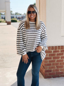 Mom's Day In Grey Striped Tunic Top