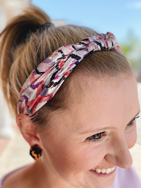 Purple/Multi Satin Twist Headband