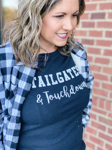 """Tailgates & Touchdowns"" Top in Charcoal Grey"