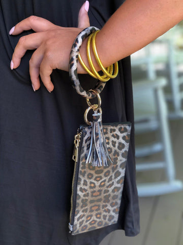 Dance All Night Bracelet Clutch Leopard With Tassel