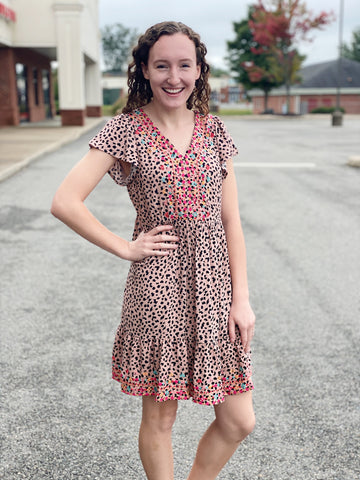 The Belle Dress in Leopard/Mocha