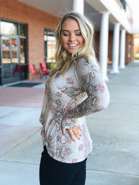 Talk About Fun Snake Print Top in Brown/Multi