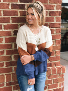 Pumpkin Spice Daydreams Sweater in Rust/Multi