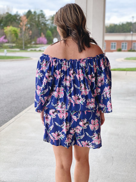 The Glenda Off Shoulder Romper in Blue/Multi