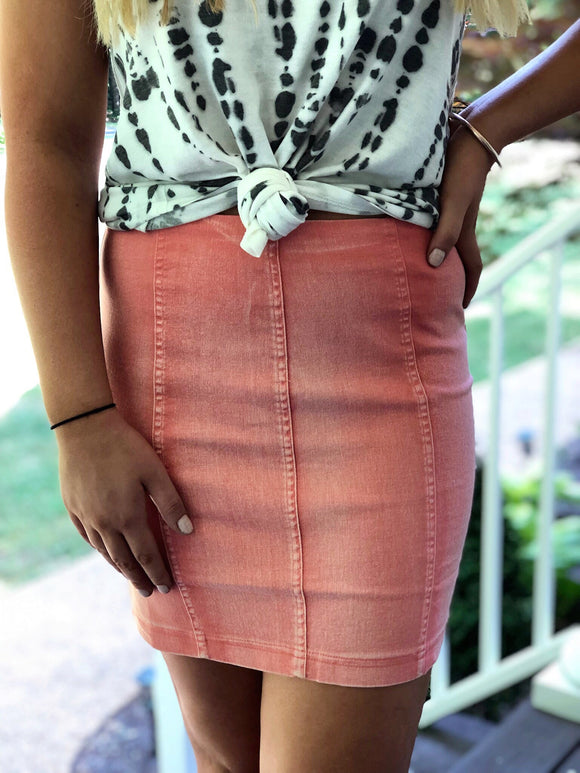 Vintage Wash Stretch Mini Skirt Coral