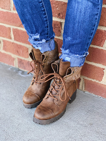 The Combat Faux Leather Lace Up Boot in Tan