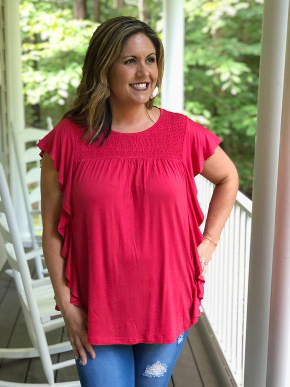 Ruffle Sleeve Top Crimson