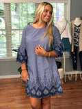 Boho Embroidered Scallop Edge Stripe Bell Sleeve Shift Dress